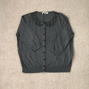 LOFT Bedazzled Collar Sweater